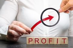 妇女拿着在木块上的一个箭头与词赢利 成功的事务的概念 收支成长和 免版税库存照片