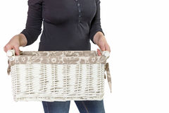 妇女拿着空的篮子被隔绝 库存图片