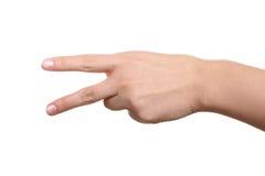 妇女指南两手指 免版税库存图片