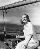 妇女指点风船(所有人被描述不更长生存,并且庄园不存在 供应商保单将有 图库摄影