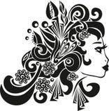 妇女描出,西班牙国籍的女孩,在头,妇女,胖的嘴唇的传染媒介例证的美丽的首饰 免版税图库摄影