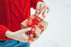 妇女提出一项圣诞节礼物 库存图片