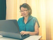 妇女播放愉快的膝上型计算机 vinteg和作用太阳照明设备 免版税图库摄影