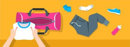 妇女放健身材料入体育袋子传染媒介横幅 免版税库存照片