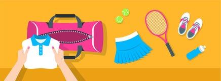 妇女放网球材料入体育袋子传染媒介横幅 库存照片