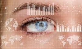 妇女数字式眼睛3D翻译特写镜头  免版税库存图片
