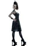 妇女方式黑色丝绸夏天礼服 免版税库存照片