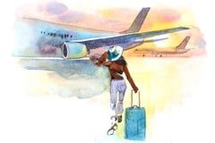 妇女旅客搭乘飞机,背面图 启运 女孩在上航空器的机场 向量例证