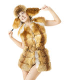 妇女时尚秀丽画象,冬天季节的性感的式样女孩 免版税库存图片
