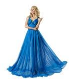 妇女时尚长的正式舞会礼服,典雅的女孩,蓝色舞会礼服 免版税库存图片