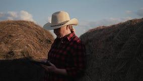 妇女是有片剂的一位农夫在干草堆 种田 饲料的准备为冬天 股票视频