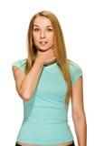 妇女显示标志窒息 免版税库存图片