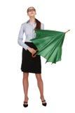 妇女显露一把绿色伞 图库摄影