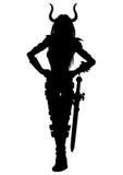 妇女有剑剪影的幻想战士 库存照片