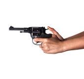 妇女有枪的` s手 免版税图库摄影