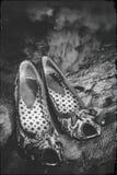 妇女有烟的` s鞋子 库存图片