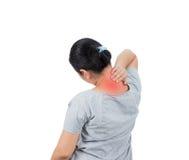 妇女有脖子痛 免版税库存图片