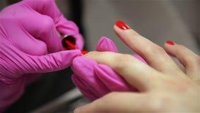 妇女有钉子修指甲在一发廊有应用与涂药器的接近的观点的美容师油漆 影视素材