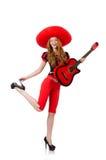 妇女有阔边帽的吉他演奏员 免版税图库摄影