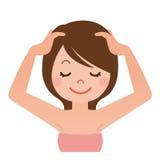 妇女有顶头按摩 向量例证