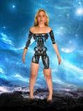 妇女机器人靠机械装置维持生命的人机器人机器 库存图片