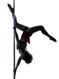 妇女杆舞蹈家剪影 库存图片