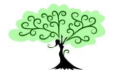 妇女树用手 免版税库存照片