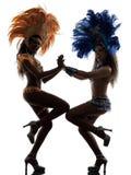 妇女桑巴舞蹈家剪影 免版税库存图片