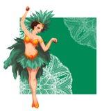 妇女桑巴舞蹈家 狂欢节里约 也corel凹道例证向量 免版税图库摄影