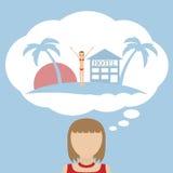 妇女梦想关于假期 免版税图库摄影
