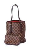 妇女棕色皮革提包 免版税库存照片