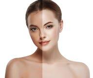 妇女棕褐色的半面孔美丽的画象浪花 免版税库存图片