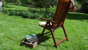 妇女椅子读了书 股票视频
