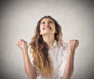 妇女欢呼 免版税图库摄影