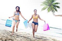 妇女比基尼泳装购物袋海滩夏天概念 库存图片