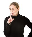 妇女沈默姿态 免版税库存照片