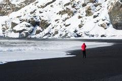 妇女沿黑沙子海滩走在Vik,冰岛 免版税库存照片