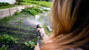 妇女浇灌的增长的植物在她的庭院里 免版税库存照片