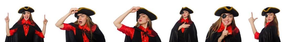 妇女海盗以在白色的各种各样的概念 库存图片