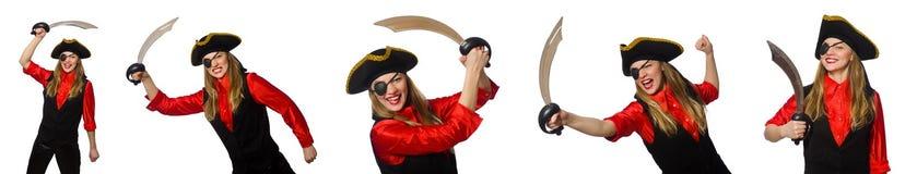 妇女海盗以在白色的各种各样的概念 库存照片