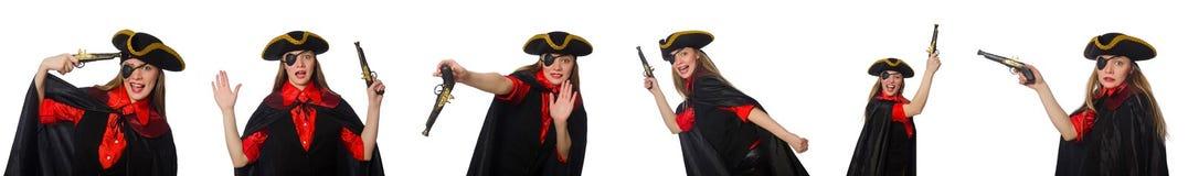 妇女海盗以在白色的各种各样的概念 图库摄影