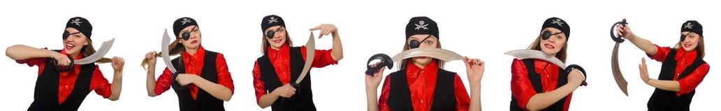 妇女海盗以在白色的各种各样的概念 免版税图库摄影