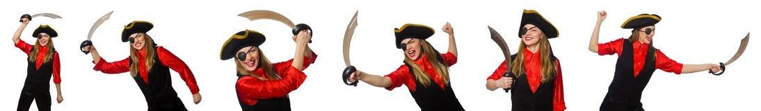 妇女海盗以在白色的各种各样的概念 免版税库存图片