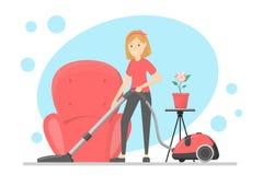 妇女清洗房子与吸尘器 向量例证