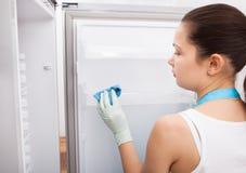 妇女清洁冰箱 免版税库存图片