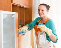 妇女清洁办公室室 免版税图库摄影