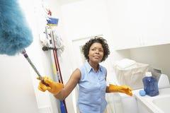 妇女清洁卫生间 库存图片