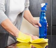 妇女清洁厨房 图库摄影