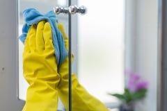 妇女清洁在家 免版税库存图片