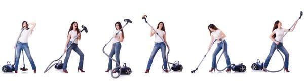 妇女清洁拼贴画与吸尘器的 免版税库存图片